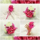 WEDDING FLOWERS GIRLS SMALL WAND SILK FOAM ROSES CERISE PINK + OTHER COLOURS