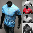 Mens Casual Slim Dragon Tattoo T-Shirts Round Neck Tee Tops Unique Print 5 Color