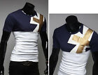 FM Cool Men's Leather Upholstery Leisure Round Neck Short Sleeve T-shirt USSL