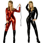 Womens Metallic PVC Fetish Latex Vinyl Spandex Wetlook Catsuit Bodysuit 8 10 12