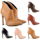 WOMENS FAUX LEATHER HIGH HEELS STILETTO CUSP BOW  ANKLE BOOTS SEXY SHOES UK 2-9