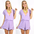 Fashion Womens Deep V Pleated Slim Waisted Short Sleeve Party Jumpsuit Playsuit