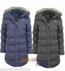 LADIES WOMEN BRAVE SOUL DETACHABLE FUR HOODED QUILTED PADDED PARKA JACKET COAT