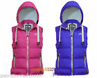 LADIES WOMENS SLEEVELESS QUILTED PADDED HOODED GILET BODYWARMER JACKET COAT 8-16