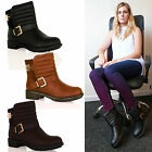 A7C New Womens Flat Biker Ankle Boots Fashion Buckle Zip Up Winter Ladies Shoes