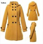 Women Wool blend Trench Hooded double-breasted Coat Long Jacket Outwear Overcoat