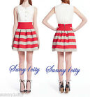 NEW Girls from Savoy Melissa Scalloped Ponte Bell Skirt Red/Grey XS/S Cute Fun