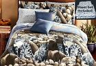 SNOW LEOPARD GRAY Jungle Wild CAT Wildlife Cabin Comforter Set BED~IN~A~BAG