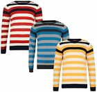 Crosshatch Stripe Sweater Cotton Crew Neck Knit Striped Pullover Jumper Top Feda