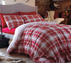 Tartan Check 100% Thermal Warm Brushed Cotton Flannelette Duvet Cover Set, Red
