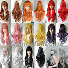 80cm Heat Resistant Fashion Long Wavy Curly Cosplay Wigs Classic Cap Full Wig