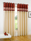 SAVE 40% on MRP SUPERB FAUX SILK CURTAINS RED & CREAM EYELET.NEXT DAY DELIVERY