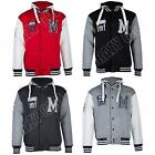 New Mens Baseball Hoodie Varsity College Hooded Top Jacket Size S M L XL XXL