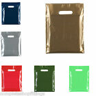 "Strong PLASTIC CARRIER BAGS Heavy Duty Handle 10""x12"" All Colours Fashion GIFT"