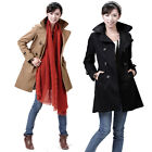 Ladies Khaki Black Classic Warm Padded Cotton Double Breasted Trench Coat Mac