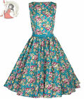 Lindy Bop 50's Audrey Vintage Floral Summer Dress Turquoise