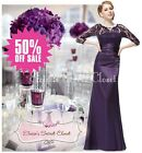 NEW ALEXA Purple Lace Full Length Maxi Prom Evening Cruise Ballgown Dress 8 - 18