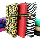 For LG Realm LS620 Boost Mobile Zipper Flip Wallet PU Leather Hybrid Case Pouch