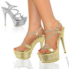Ladies High Heels Sandals Womens Platforms Strappy Party Prom Bridal Shoes Size