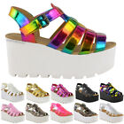 Women Chunky Gladiator Strappy Sandals Wedges Platform Shoes Size
