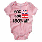 50% BRITISH 50% AUSTRIAN 100% ME - UK / Austria / Novelty Themed Baby Grow