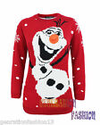 LADIES WOMENS KNITTED OLAF FROZEN XMAS CHRISTMAS JUMPER 3D NOSE SWEATER TOP 8-14