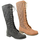 WOMENS LADIES KNEE HIGH QUILTED RIDING LACE UP MILITARY FLAT BOOTS SHOE SIZE