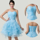 STOCK Strapless Organza Ball Party Gown Prom Evening Dress Cocktail Brides 6-20