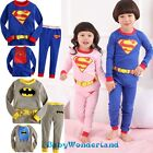 Baby Boys Girls Superhero Batman Long Sleeves Pyjamas Sleepwear Set Size 0-4Y