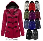 LADIES WOMENS DUFFLE TOGGLE TRENCH POCKET HOODED COAT JACKET WINTER COATS 8-20
