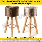 Wooden Bar stool Kitchen Chair Dining Grey Brown Faux Fur Round Padded Seat GIFT