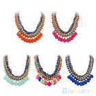 Punk Multilayer Colorful Bold Torsade Chain Rhinestone Charms Pendant Necklace