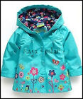 GIRLS BLUE RAIN COAT MAC SPRING SUMMER JACKET with HOOD WINDBREAKER FLOWER 2-7y