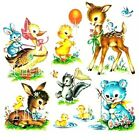 NURSERY ANIMAL DECALS shabby VINTAGE chic BEAR DUCK DEER CAT LAMB large or small