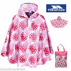 TRESPASS Kids Waterproof Showerproof Rain Poncho Cape Girl Boy Pink Purple