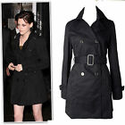 New black beige belted hip length cotton twill trench coat