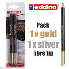 New EDDING Pack SILVER GOLD Fibre Pen Bullet Tip Water-based Craft Card making