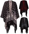 Womens Aztec Print Ladies Tassel Fringe Knitted Shawl Poncho Cardigan Plus Size