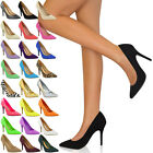 Womens Court Shoes Ladies Low Mid High Heel Pointed Toe Pumps Smart Work Size