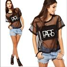 Women Sexy Lace Gauze Night Club See-through Short Sleeve T-shirt Blouse Tops