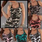 NEW SLEEVELESS CAMO TOPS for WOMEN 8 10 12 PRINT SHIRTS for LADIES SINGLET S M L