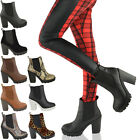 Chelsea Casual Ankle Boots Womens Mid High Block Heel Platform Shoes Size
