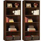 5 Shelf Bookcase Set of 2 Bookshelf Storage Shelves Wood Book Case Hardwood Home