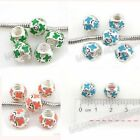 10/50x New Enamel Silver Plated Alloy European Charms Beads Fit Make Bracelet C