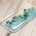 MGL Blue Glitter DIY Real Pressed Flower Bling Hard Skin Case For Samsung iPhone