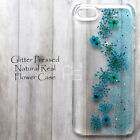MGL Glitter Blue Red Real Pressed Flower Hand Craft Bling Hard Skin Case Cover