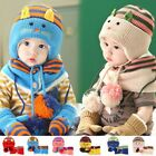 Baby Kids Stripe Cat Hat With Scarf Warmer Set Toddler Crochet Beanie Cap MZ2253