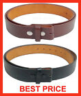 BLACK BROWN PLAIN LEATHER BELT STRAP SNAP ON NO BUCKLE  SOLID UNISEX MENS WOMENS