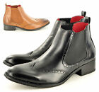 New Men's Leather Lined Brogue Wingtip Formal Chelsea Dealer Boots UK Size 6-12