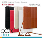 iPad Air2 Leather Smart Covers Cases by HOCO Retro Style Multiple Angle Views
